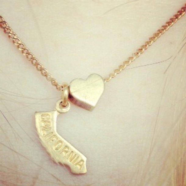nail accessories california love heart necklace