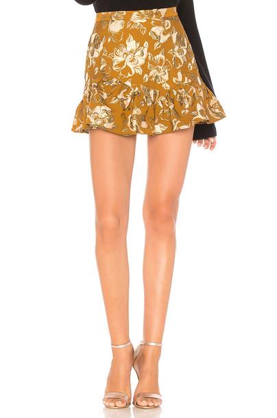 LoveShackFancy skirt metallic gold