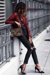 fashionedchic,blogger,top,jacket,jeans,shoes,bag,jewels,fall outfits,red jacket,gucci bag,pumps,high heel pumps