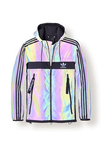 jacket heritage adidas adidas originals sportswear streetwear holographic holographic jacket iridescent coat