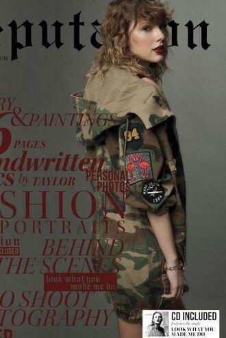 jacket editorial taylor swift camouflage camo jacket fall jacket
