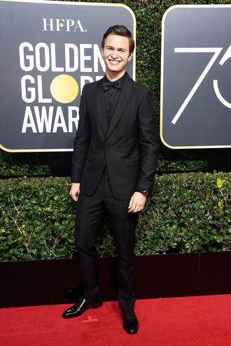 pants menswear mens shirt mens suit mens blazer black ansel elgort golden globes 2018