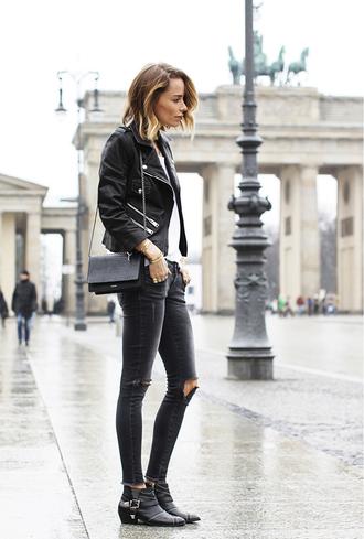 shoes leather jacket white shirt black distressed jeans buckle boots black handbag blogger