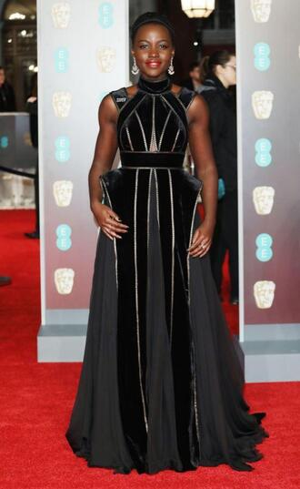 dress gown prom dress red carpet dress black dress black lupita nyong'o bafta
