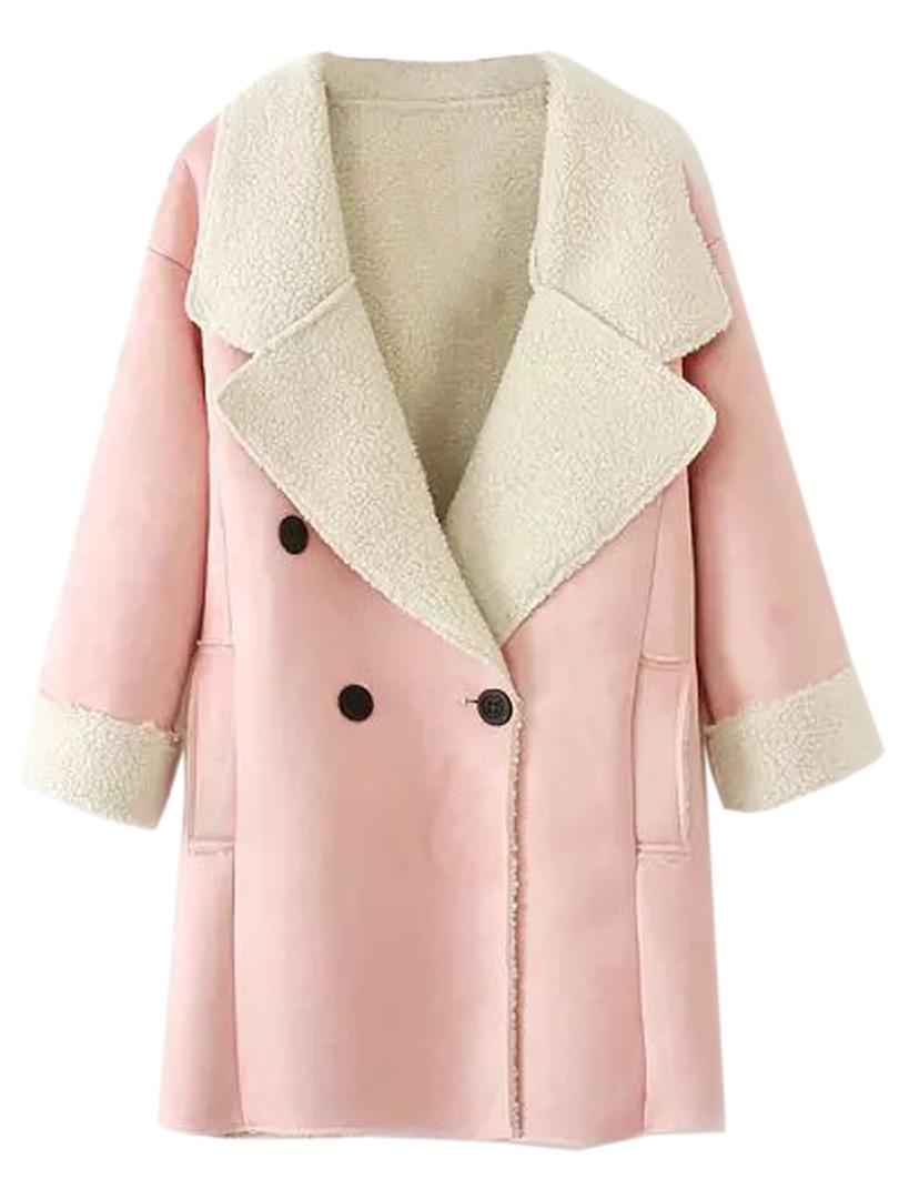 Pink shearling fur lapel longline coat