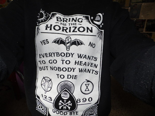 sweater black sweater fucking awesome ouija ouija board bring me the horizon shirt sweatshirt black