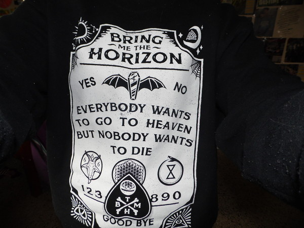 sweater black sweater fucking awesome ouija ouija board bring me the horizon shirt