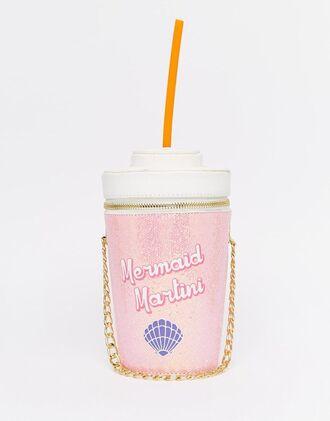 bag glitter asos mermaid pink girly shell funny travel mug chain bag pink bag