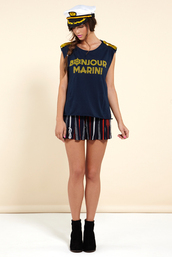 tank top,french,chipchop,navy,muscle tee