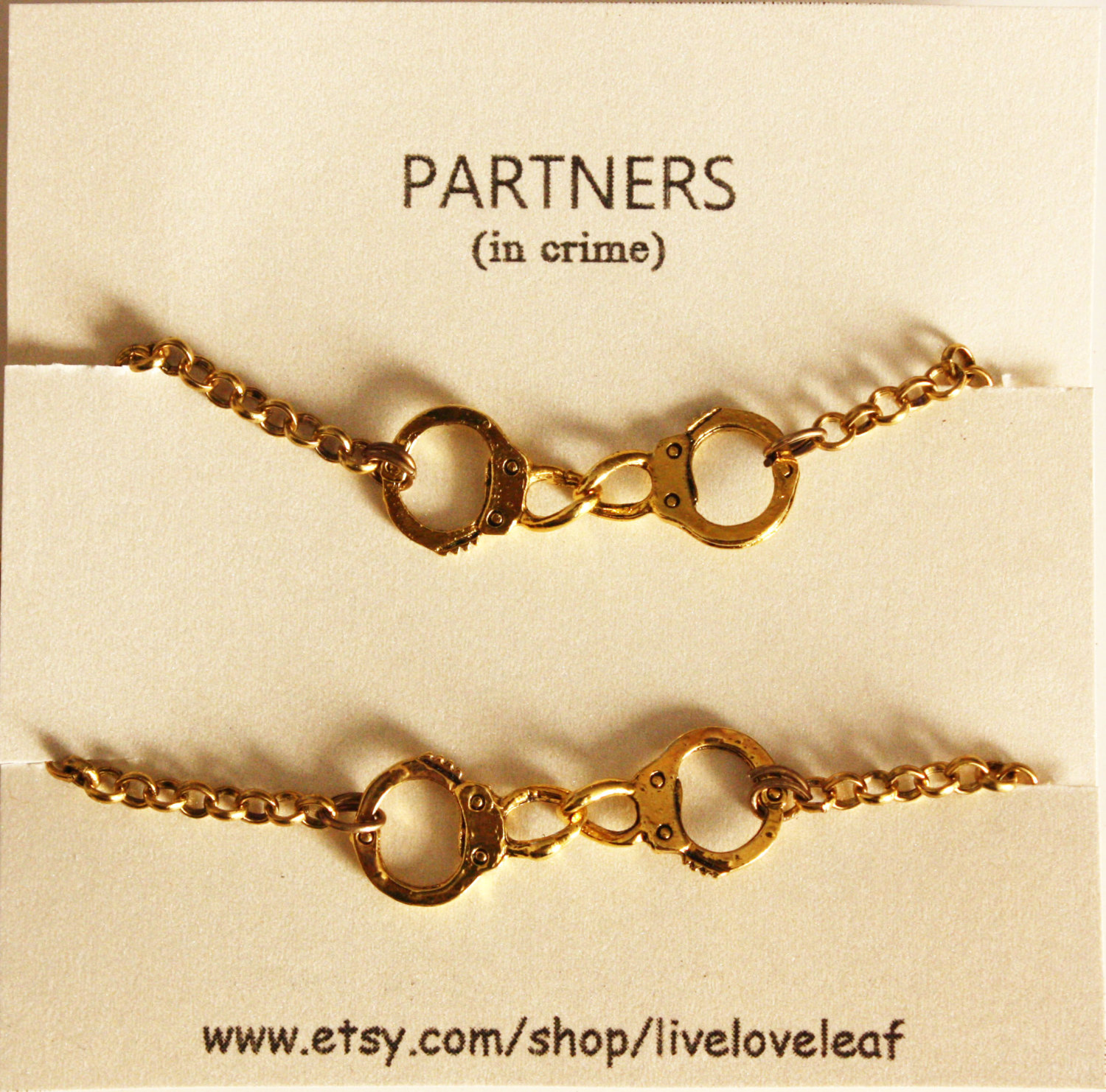 partners in crime matching best friends bracelets gold