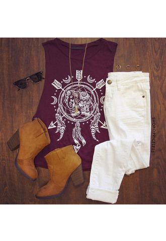 tank top booties white jeans sunglasses