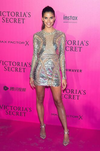 dress metallic silver sequins mini dress sandals sara sampaio victoria's secret victoria's secret model