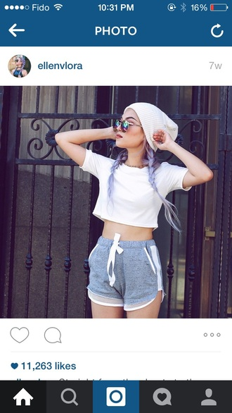 shorts beanie summer mesh grey necklace sportswear style crop tops summer shorts jersey hot outfit sunglasses grey shorts