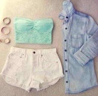 shirt green top bandeau short jeans shorts white stilish cute summer denim jacket hot pants summer outfits jacket jewels