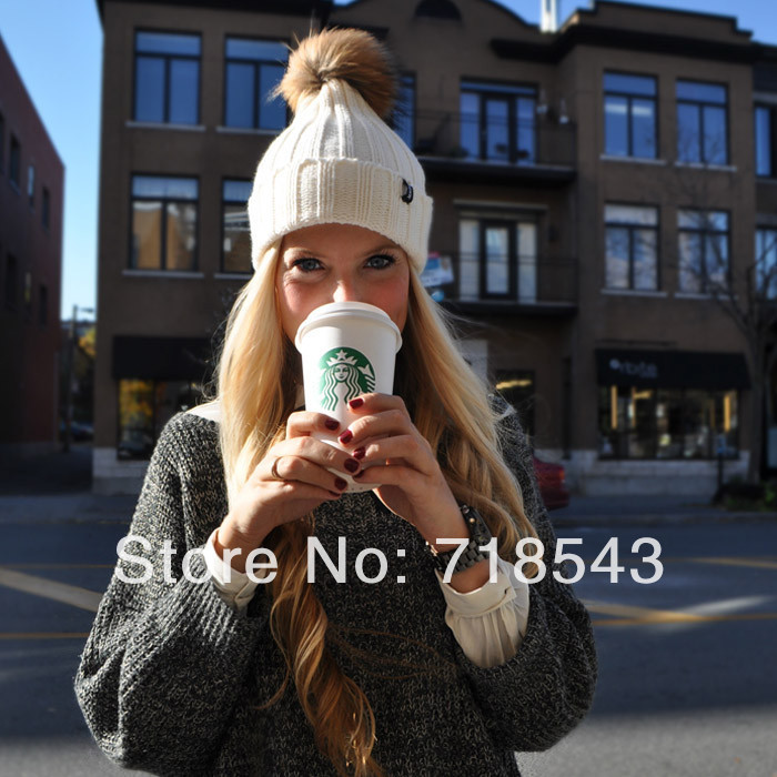 Winter Beanie Fur knitted hat &cap for women and warm winter man knitted Beanies Free shipping women  cap and fur hat-in Skullies & Beanies from Apparel & Accessories on Aliexpress.com
