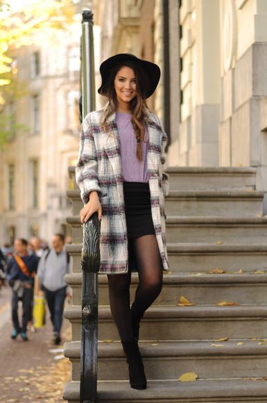blogger tartan satisfashion felt hat fall outfits