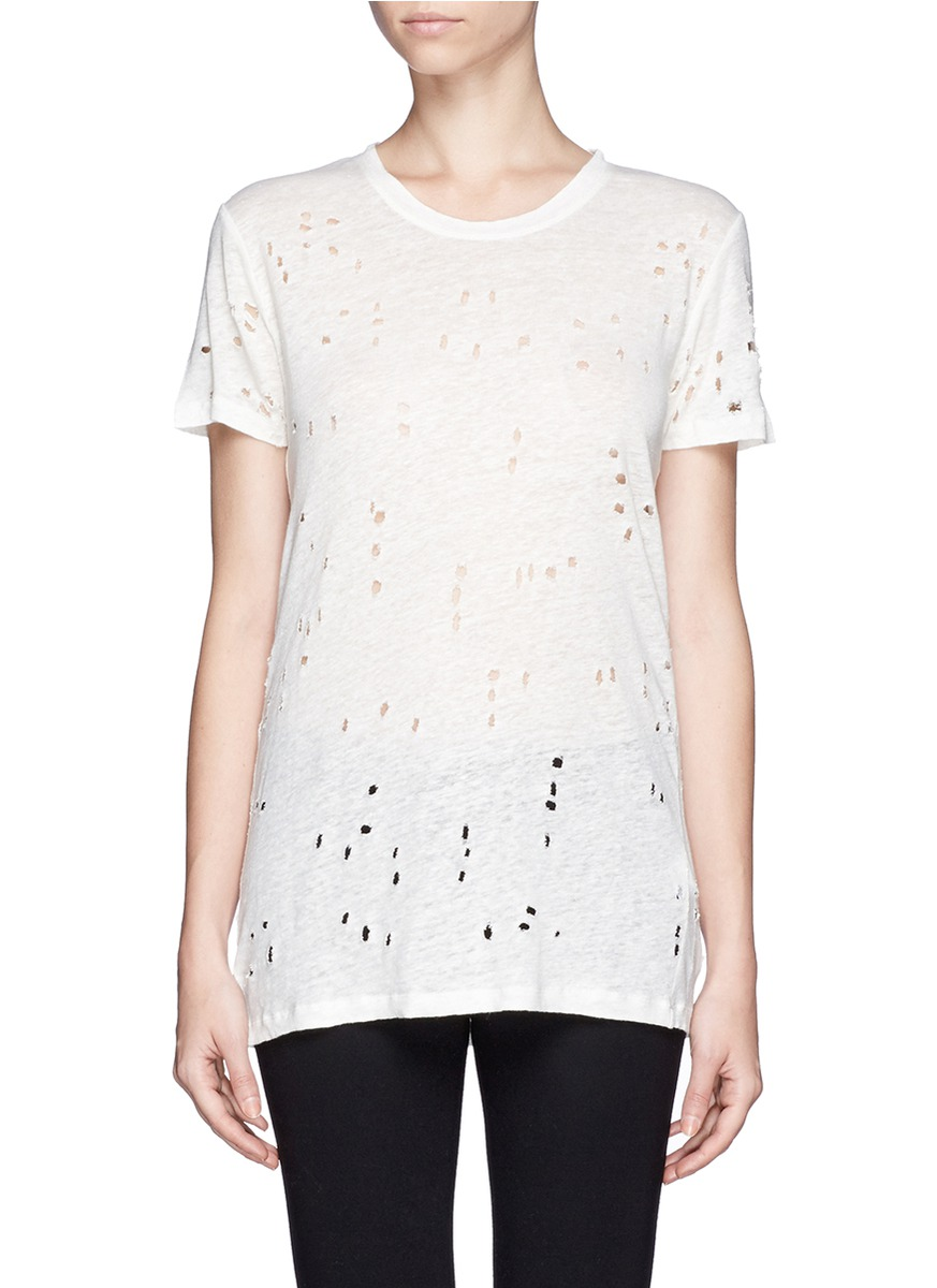Iro 39 clay 39 distressed t shirt white t shirts tops for How to make a distressed shirt