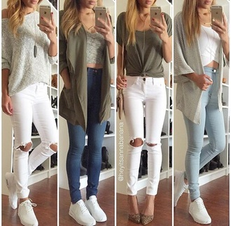 blouse shirt ootd outfit instagram tumblr green grey jacket jeans