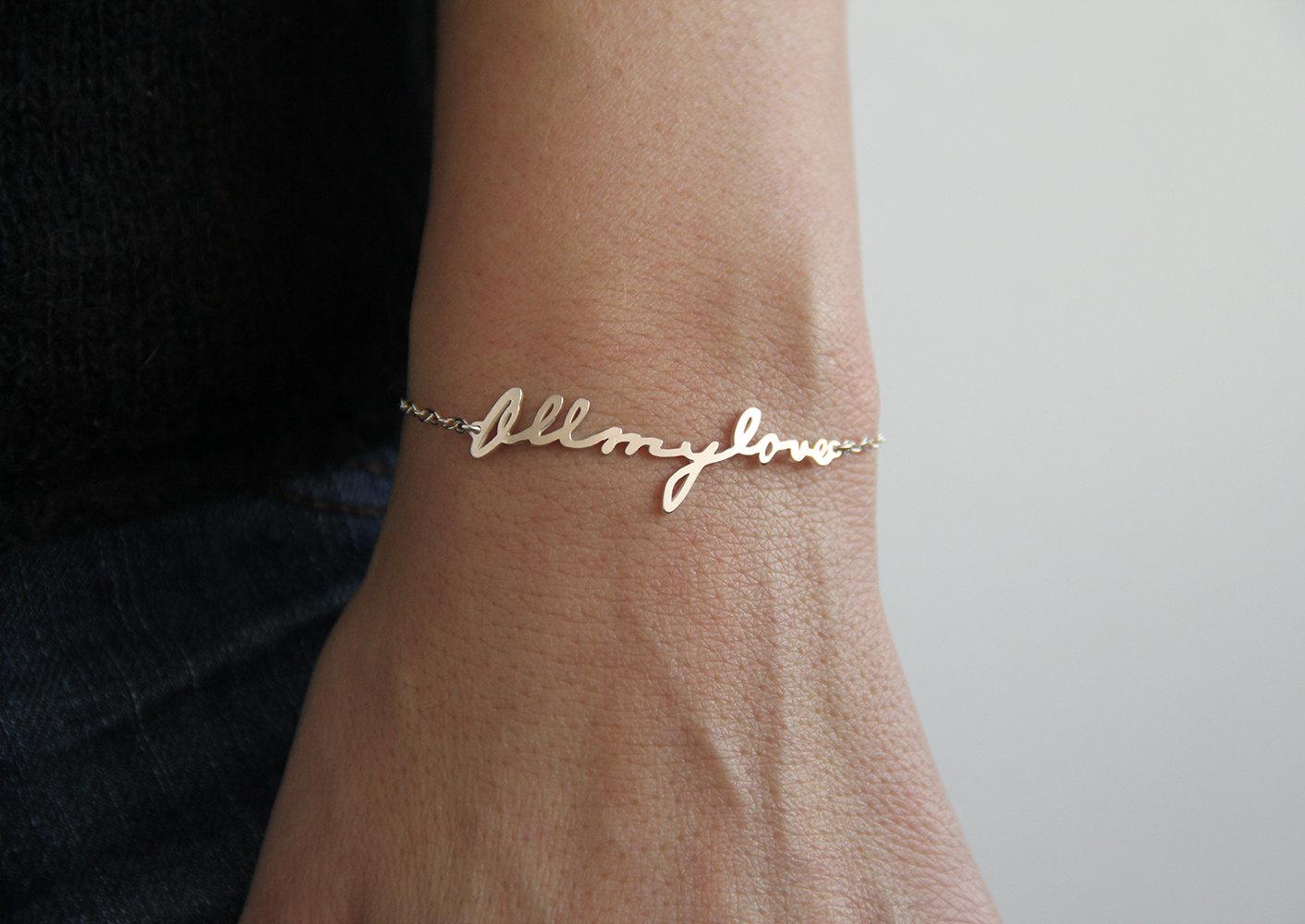 Signature bracelet, bracelet de l'écriture manuscrite, personalized nom bracelet, mot bracelet, bracelet plaque signalétique