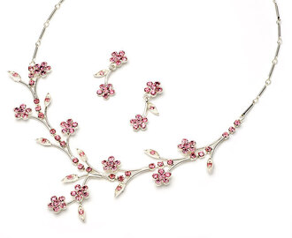 jewels pink silver flowers necklace earrings