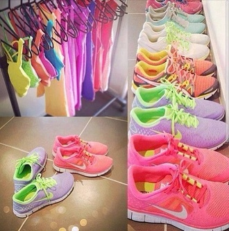 shoes nike nike sneakers fluo t-shirt tank top bright sneakers low top sneakers bright neon pastel sportswear nike free run women cute pretty lovely active activewear shirt workout gym clothes colorful nikes running sports bra pink running shoes sports shoes