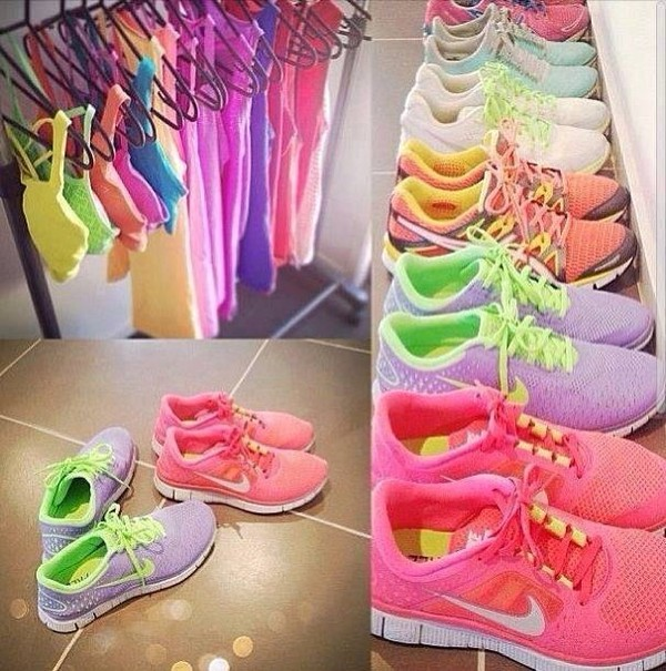 shoes nike nike sneakers fluo t-shirt tank top bright sneakers low top sneakers bright neon pastel sportswear nike free run women cute pretty lovely active activewear shirt workout gym clothes colorful nikes nike free run workout running tank top sports bra pink sportswear running shoes sports shoes