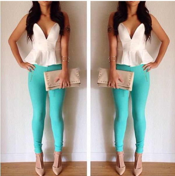 blouse top style shirt t-shirt white blue skinny jeans clutch nude high heels nude