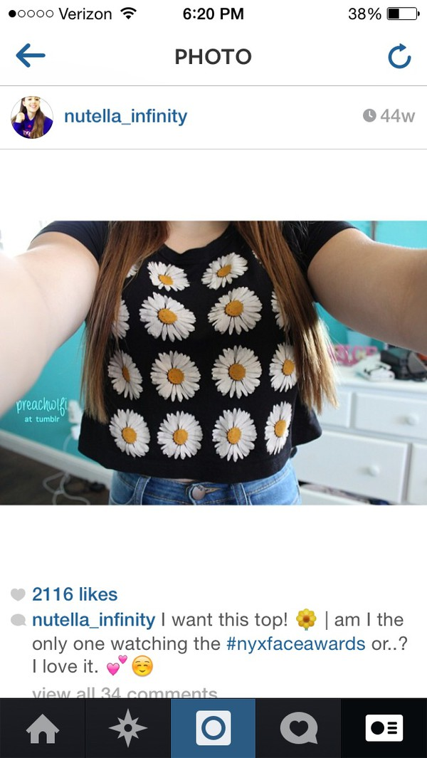 crop tops daisy black floral