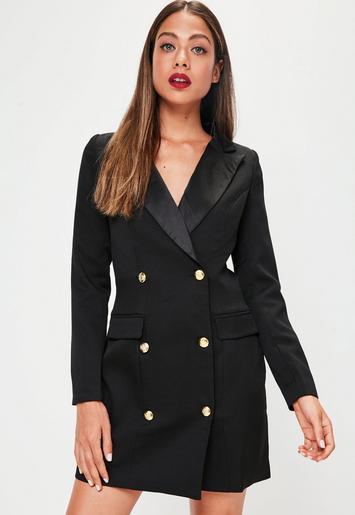Missguided - Black Tuxedo Long Dress