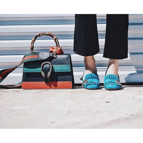 2c5fe1ed7c7 bag tumblr teal fringes fringe shoes stripes printed bag gucci gucci bag loafers  suede shoes striped