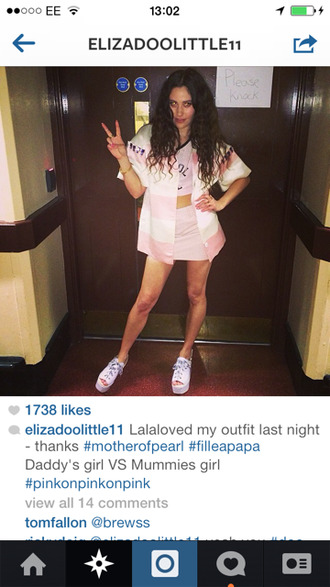 coat check pink white pretty summer girl skirt top all pink shoes singer cool eliza doolittle