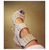 shoes,spiked shoes,studded shoes,high heel sandals,nude sandals