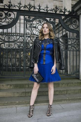 at fashion forte blogger jacket dress bag jewels shoes royal blue dress blue dress mini dress black leather jacket clutch sandals spring outfits handbag hobo bag