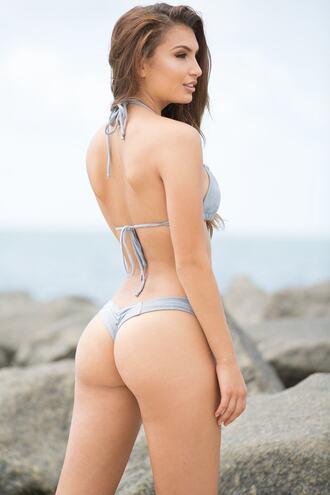 swimwear bikini bottoms brazilian bikini cheeky grey silver bikiniluxe