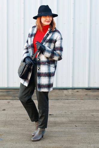 not dressed as lamb - over 40 fashion blog blogger bag coat pants shoes hat gloves felt hat ankle boots crossbody bag red top