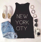 shoes,new york city,shirt,t-shirt,black t-shirt,vintage,high waisted denim shorts,white shoes,white writting,shorts,jewels,black,denim,white,sunglasses,trainers,white shoes trainers,thin letters,newyork top