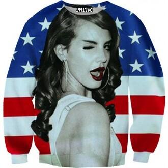 lana del rey sweater national anthem american flag crewneck wink