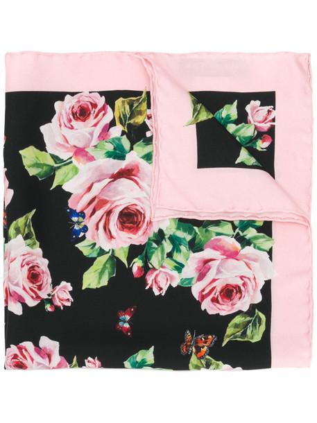 rose women scarf print black silk