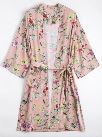 coat girly pink floral robe cardigan