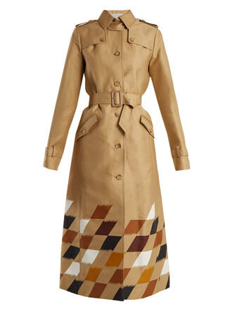coat trench coat geometric cotton print beige