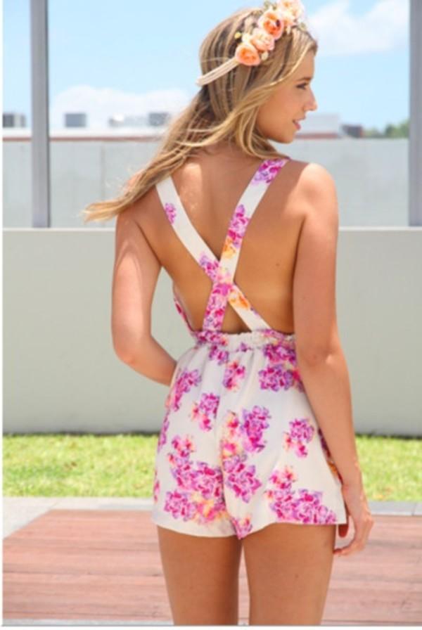dress floral pink white romper