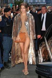 romper,shorts,gold,coat,gigi hadid,purse,model off-duty,milan fashion week 2016,sandals