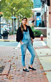 to be bright,blogger,blouse,shoes,bag,overalls,jumpsuit,denim overalls,loafers