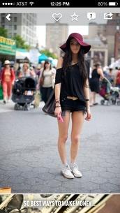 hat,purple,burgundy,floppy hat,sun hat,shirt,shorts,black,denim shorts,cut offs,black denim shorts,jeans