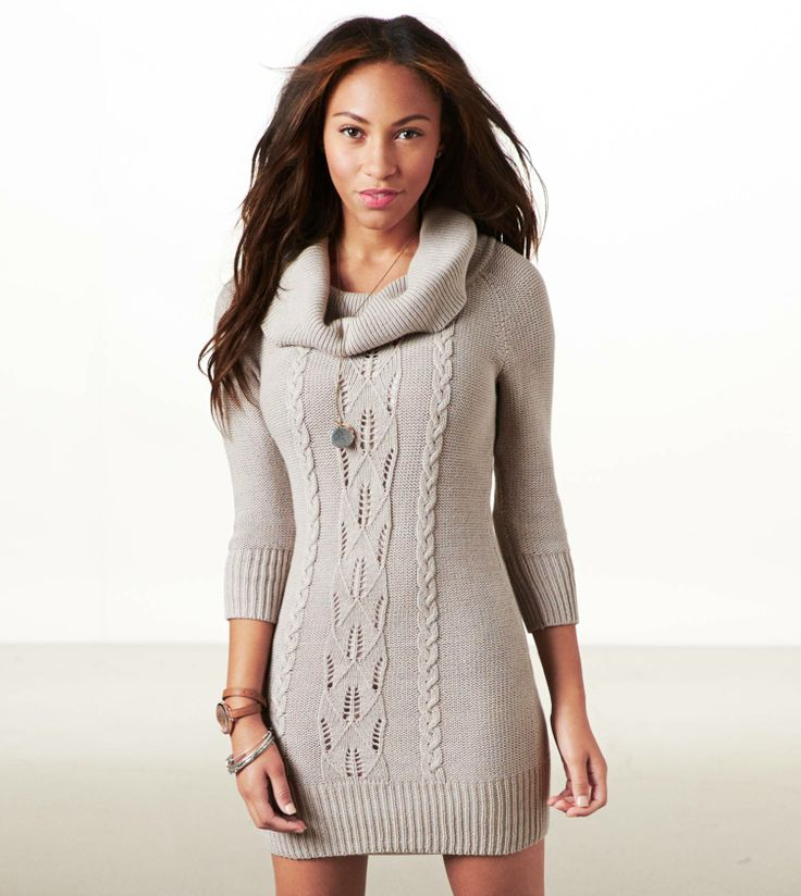 Eagle Cowl Neck Sweater Dress, Grey