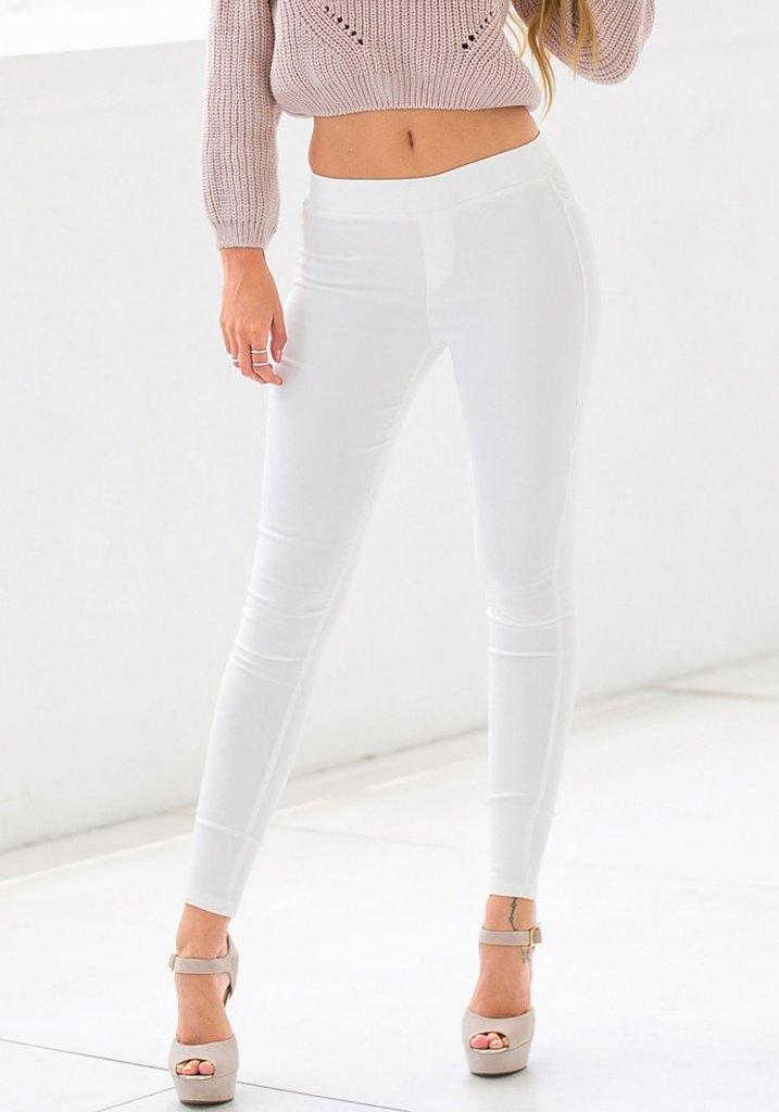 White Skinny High-Waisted Pants