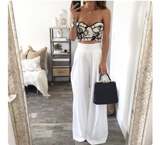 pants white high waisted pants top black and white flowers crop tops