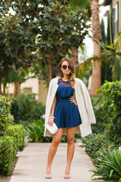lace and locks,blogger,cardigan,bag,jewels,sunglasses,bachelorette party outfits,blue romper,lace romper,coat,white coat,white fluffy coat,fluffy,clutch,party outfits,sandals,sandal heels,high heel sandals,round sunglasses