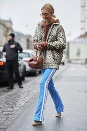 pants,side stripe pants,light blue,sweatpants,jacket,sunglasses,bag,brown bag,athleisure,streetstyle