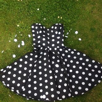 dress polka dot dress black dress prom dress party dress black and white dress pin up dress girly cute strapless styleiconscloset